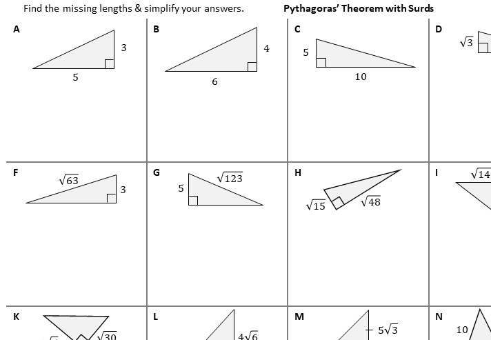 Surd Rules - With Pythagoras - Worksheet A