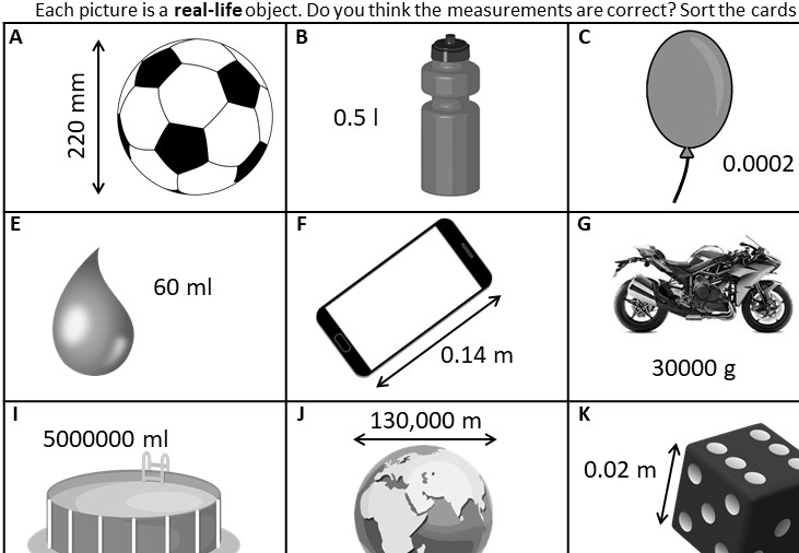 Systems of Measurement - Metric - Card Sort B