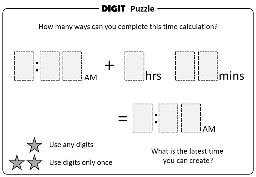 Time - Calculations - Digit Puzzle