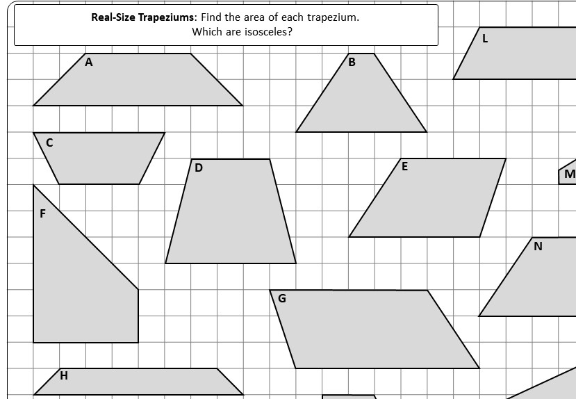 Trapezium - Area - Worksheet A