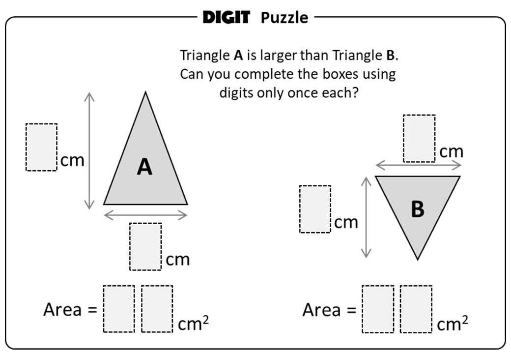 Triangle - Area - Digit Puzzle