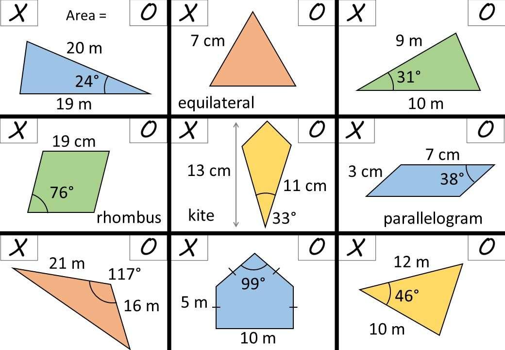 Trigonometry - Area Rule - Noughts & Crosses