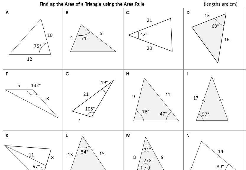 Trigonometry - Area Rule - Worksheet A