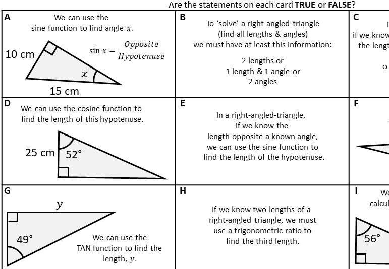Trigonometry - Choosing Ratio - Card Sort