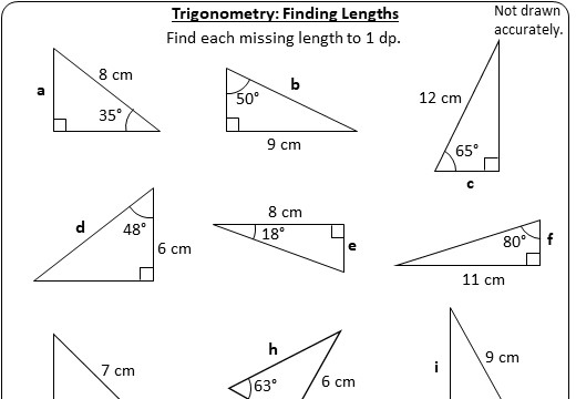 Trigonometry - Lengths - Worksheet A