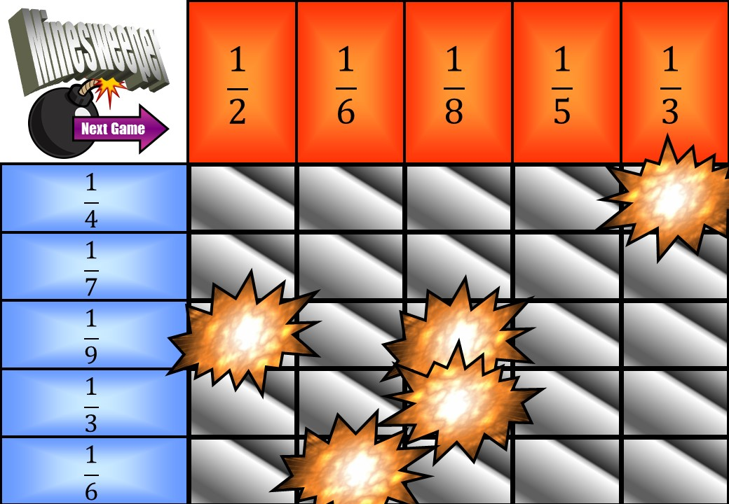 Unit Fractions - Adding - Minesweeper