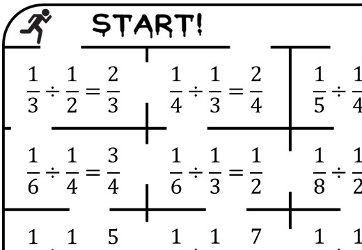 Unit Fractions - Dividing - True or False Maze