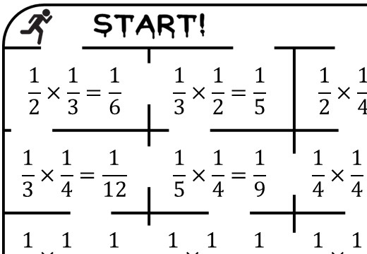 Unit Fractions - Multiplying - True or False Maze