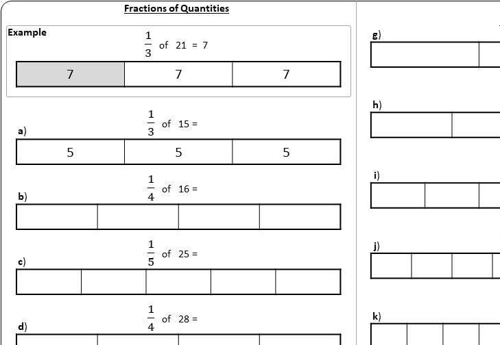 Unit Fractions of Quantities - Worksheet B