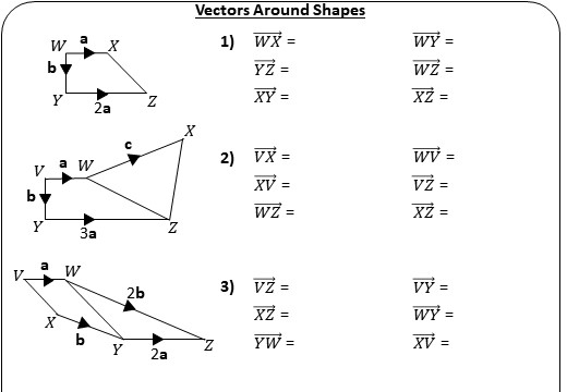 Vectors - Around Shapes - Worksheet A