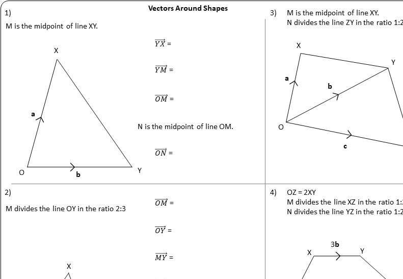 Vectors - Around Shapes - Worksheet B