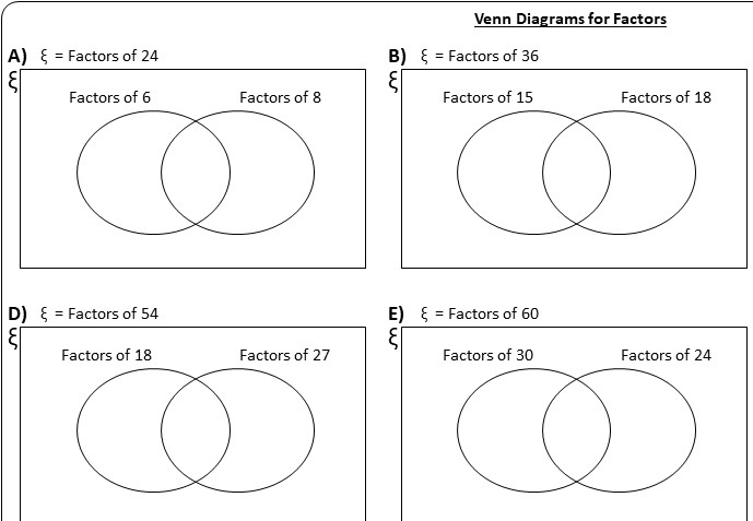 Venn Diagrams - Worksheet B