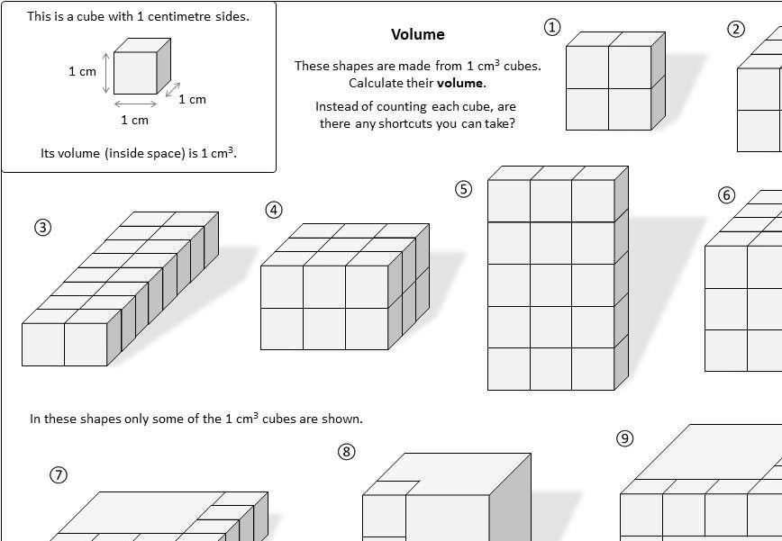Volume - 3D Shapes - Worksheet A
