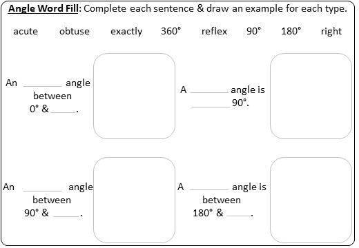 Angle - Vocabulary - Worksheet A