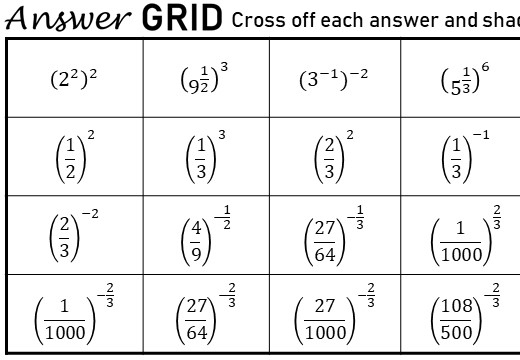 Indices - Brackets - Answer Grid