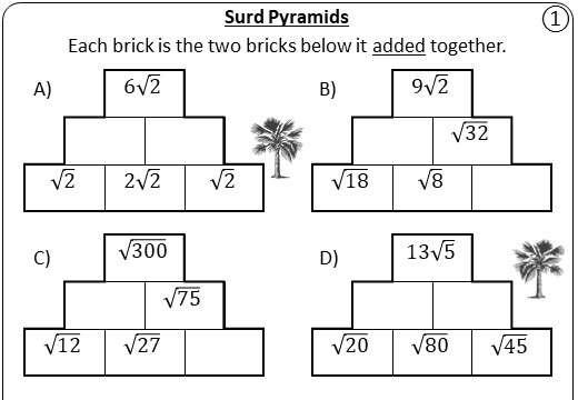 Surds - Adding & Subtracting - Pyramids