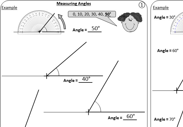 Angles - Constructing & Measuring - Worksheet A