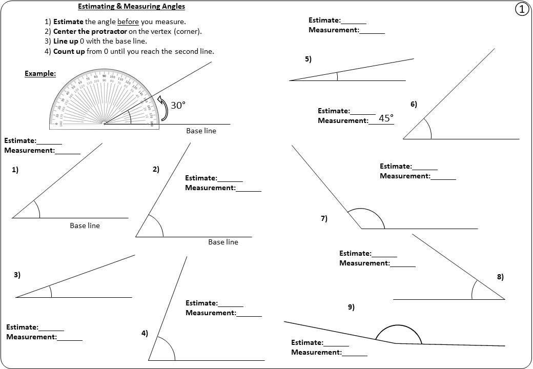 Estimating & Measuring Angles - Worksheet A