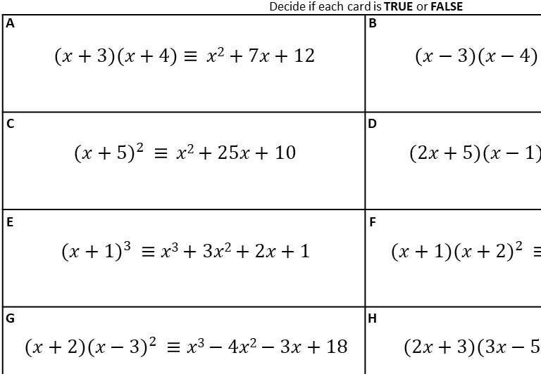 Expanding 2 or More Binomials - Card Sort