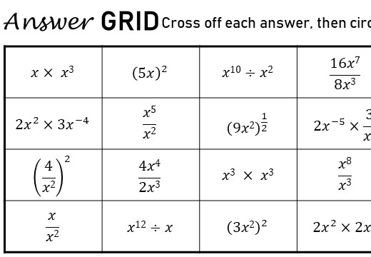 Simplifying Expressions - Negative & Fractional Indices - Answer Grid