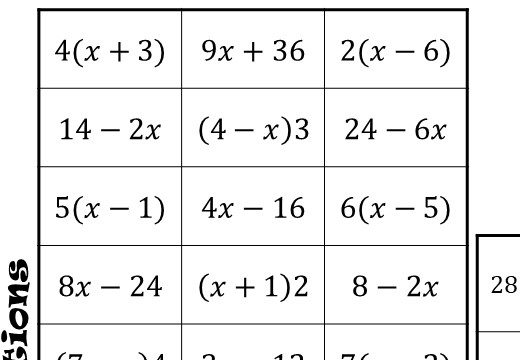 Single Brackets - Expanding & Factorising - Without Indices - Four in a Row