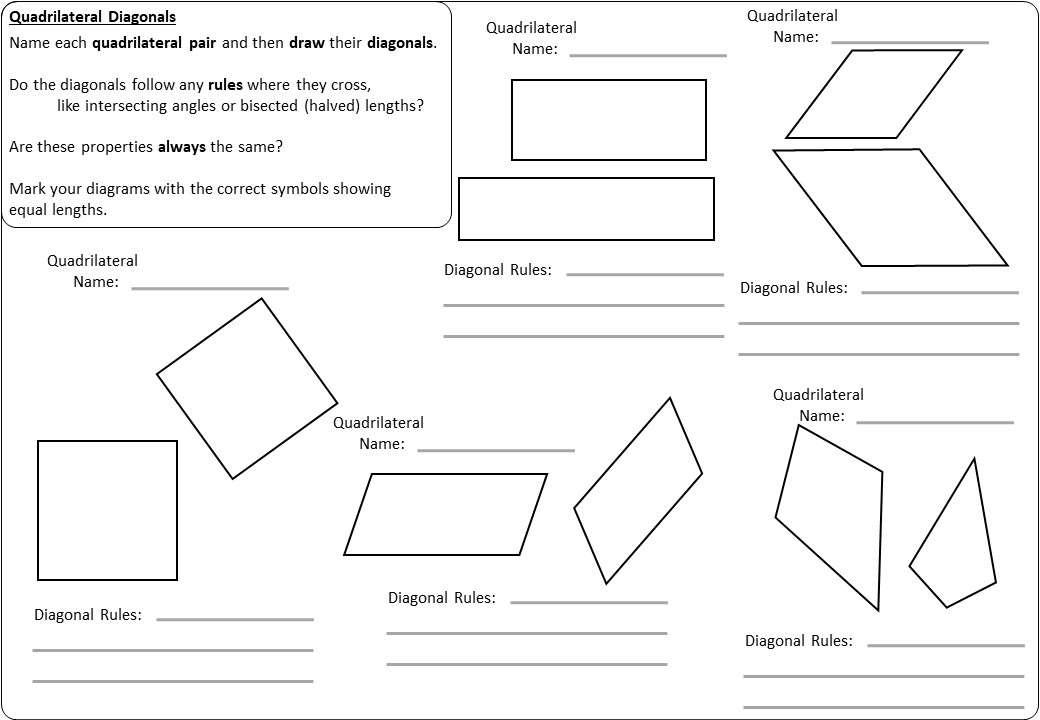 Diagonals - Worksheet A