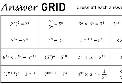 Equations With Indices - Answer Grid