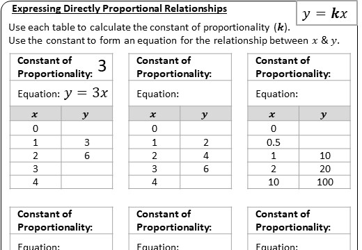 Forming Proportional Relationships - Worksheet A