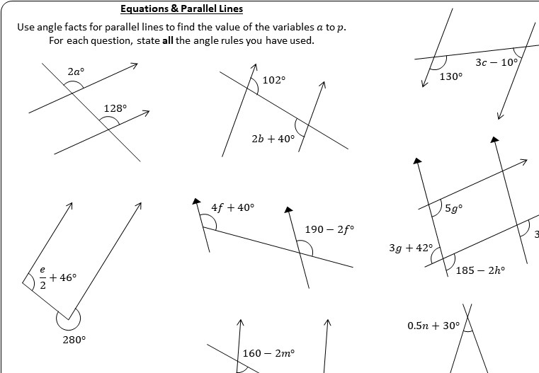 Parallel Lines - Equations - Worksheet A