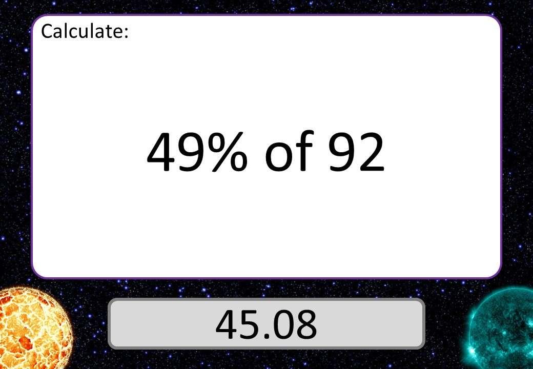 Percentage of a Quantity - Integer - Calculator - 3 Stars