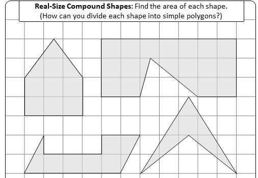 Polygonal Compound Shapes - Area - Worksheet A