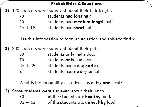 Probability - With Equations - Worksheet A