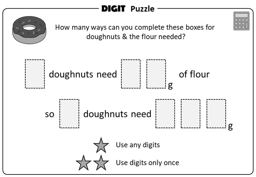 Proportion - Recipes - Calculator - Digit Puzzle