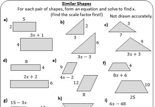 Similiar Shapes - Worksheet A