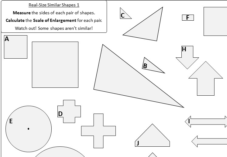 Similiar Shapes - Worksheet B