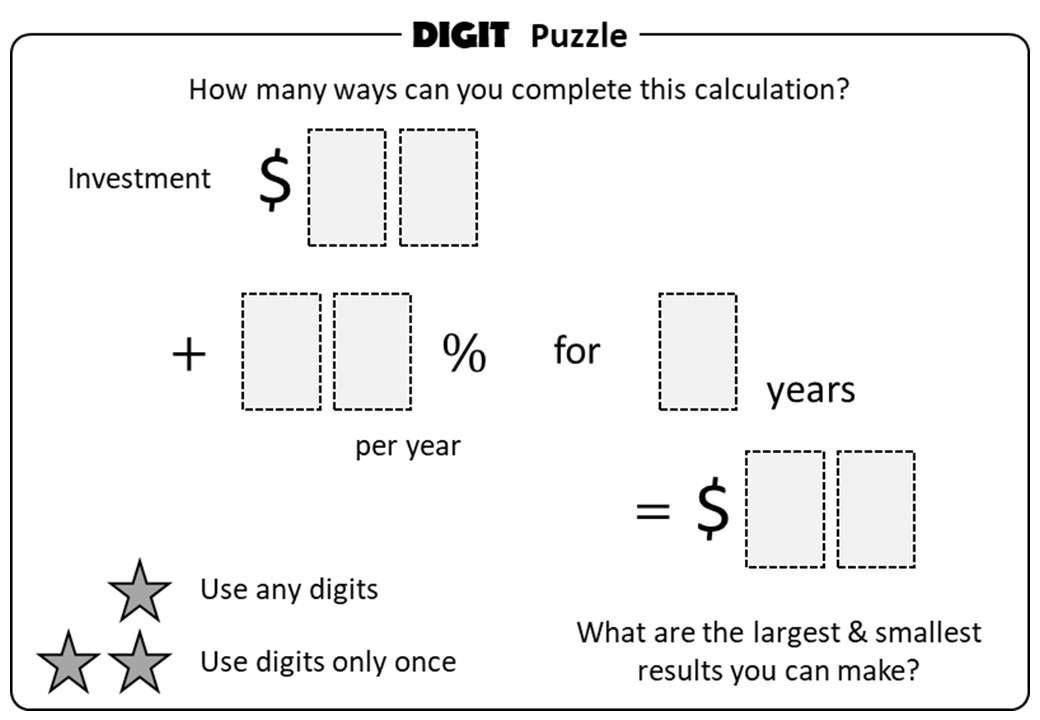 Simple Interest - Calculator - Digit Puzzle