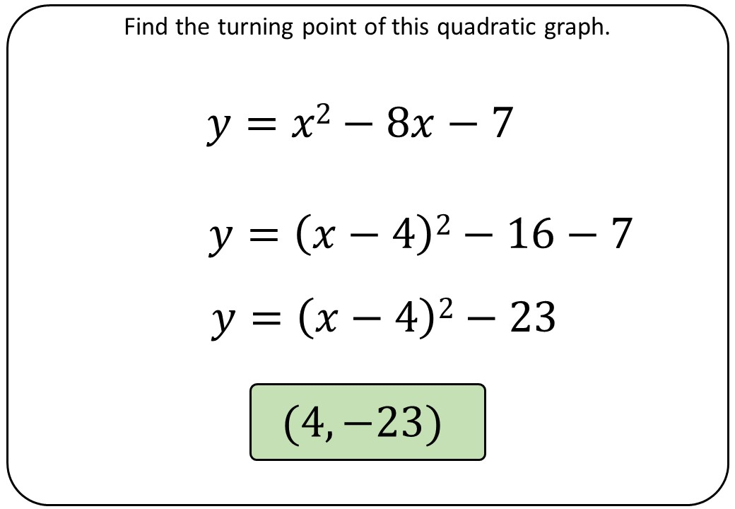 Turning Points by Completing the Square - Bingo M