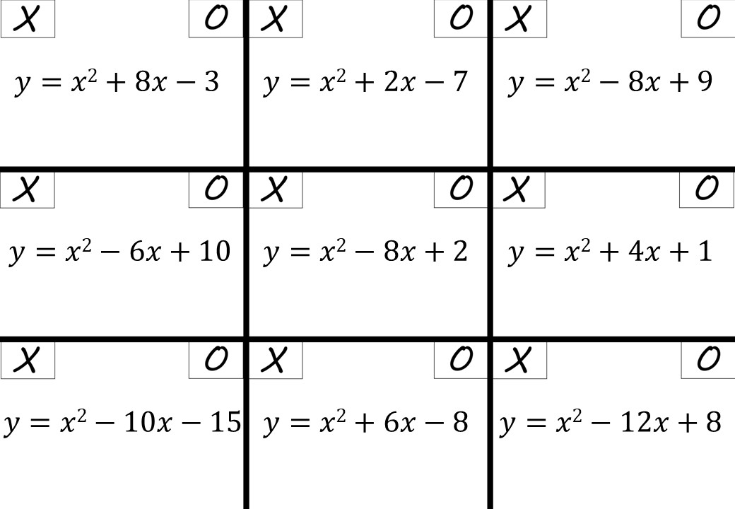 Turning Points by Completing the Square - Noughts & Crosses
