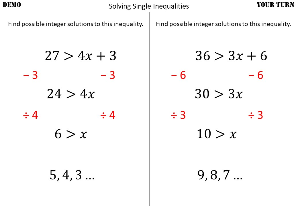 Single Linear Inequalities - Solving - Demonstration
