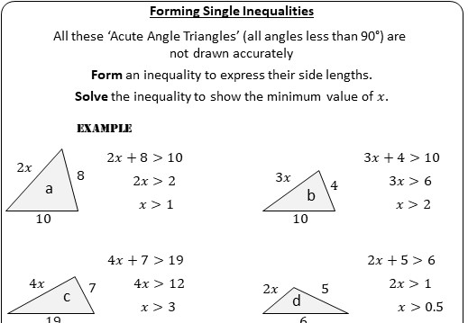 Single Linear Inequalities - Solving - Worksheet A