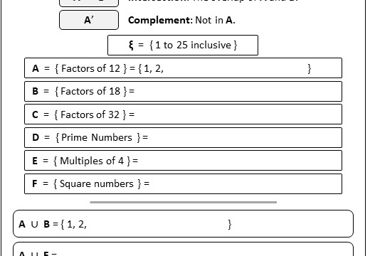 Sets - With Notation - Worksheet A