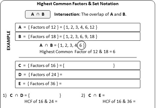 Sets - With Notation - Worksheet B