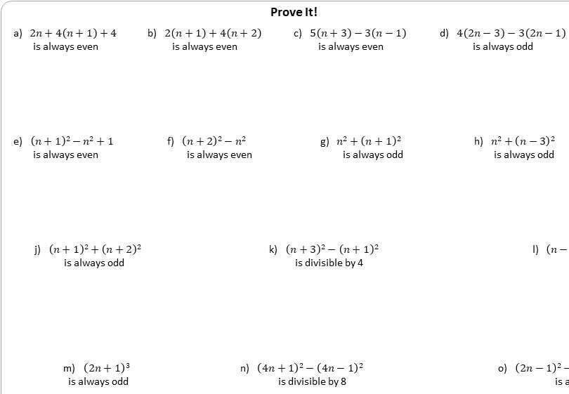Algebraic Proofs - Worksheet B