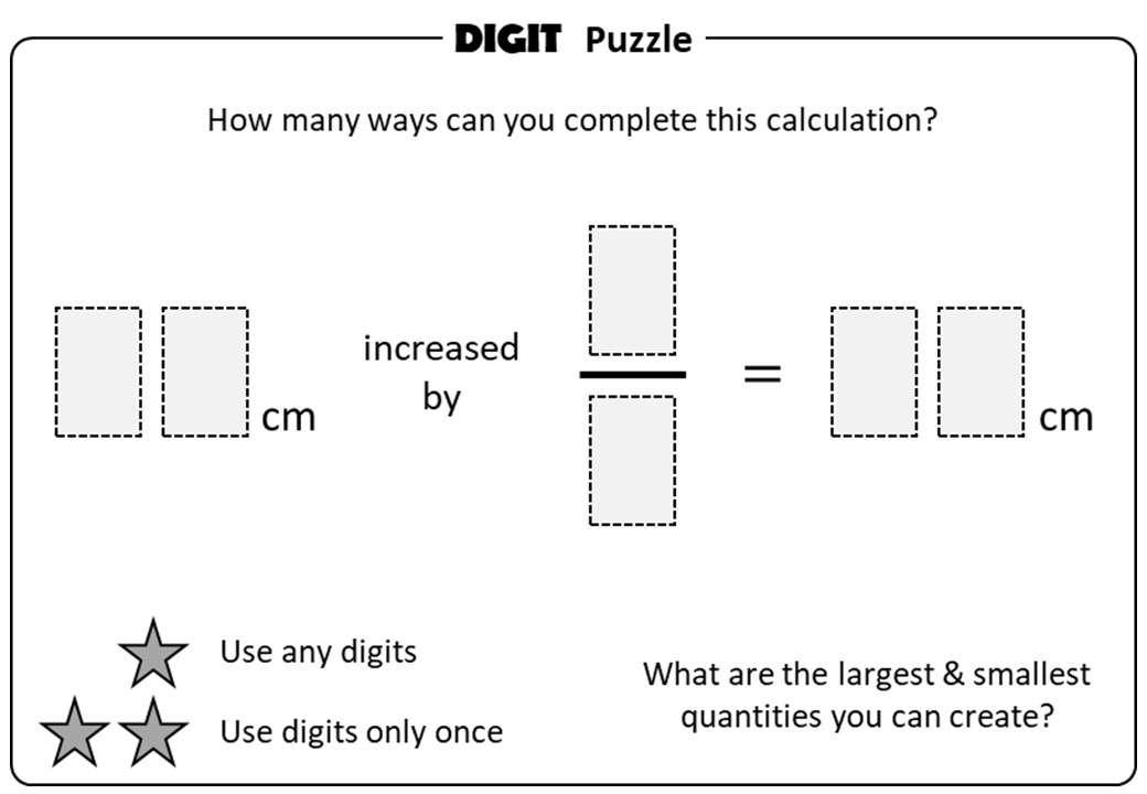 Fractions of Quantities - Increasing & Decreasing - Digit Puzzle