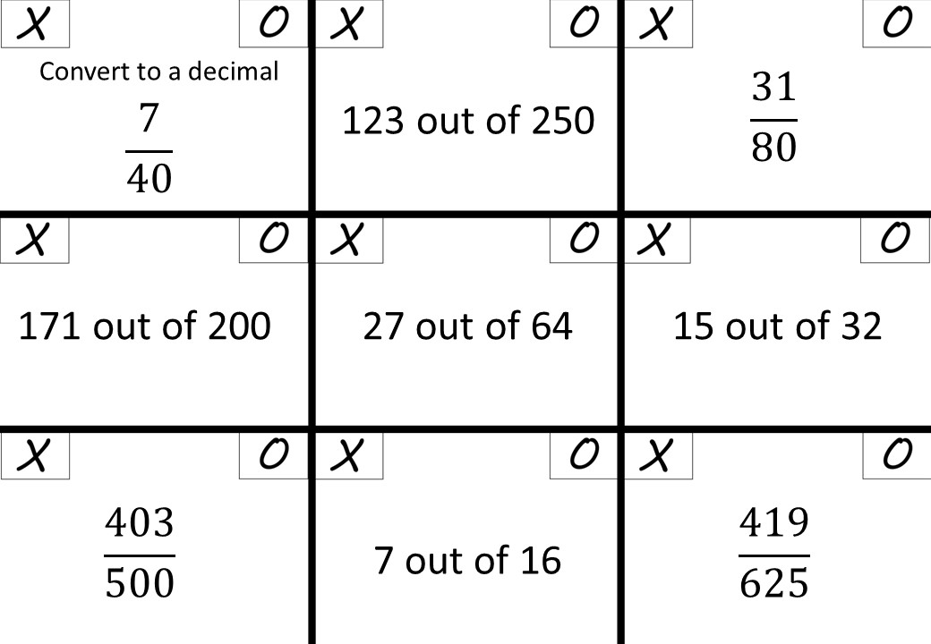 Fractions to Decimals - Calculator - Noughts & Crosses