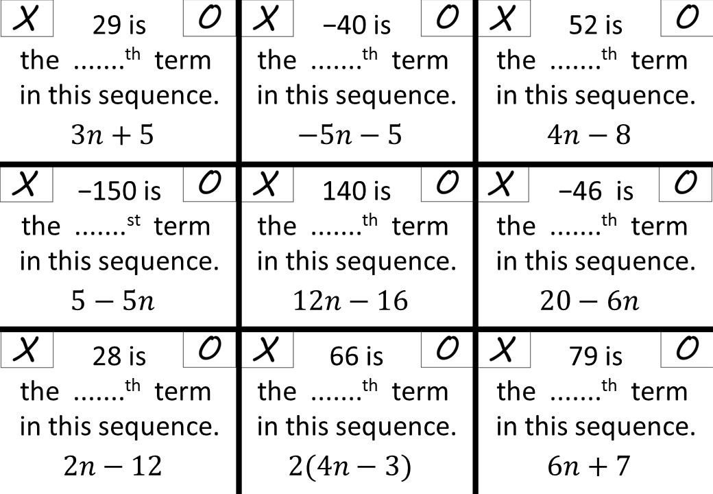 Linear Sequences - Evaluating Terms - Noughts & Crosses
