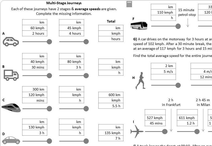 2-Stage Journeys - Worksheet A