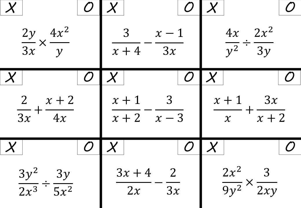 Algebraic Fractions - Mixed Arithmetic - Noughts & Crosses