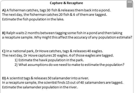 Capture Recapture - Worksheet A