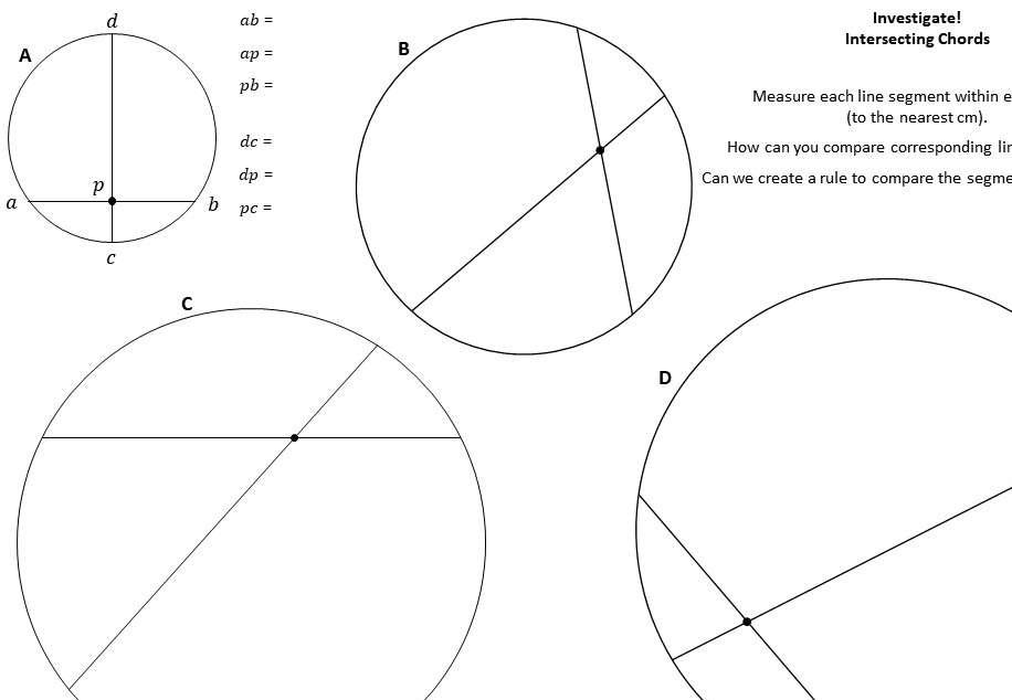 Circle Theorems - Intersecting Chords - Worksheet A